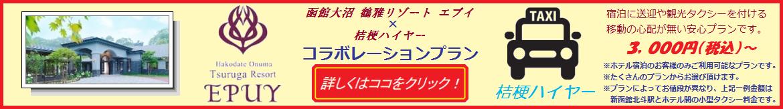 函館大沼鶴雅リゾート エプイ コラボレーションプラン宿泊に送迎や観光タクシーを付ける移動の心配が無い安心プランです。 空港や駅へのお迎えはもちろん、観光タクシープランもご用意しております。ご予定やご予算に合わせてたくさんのプランからお選び頂けます。